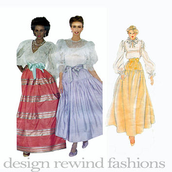 OSCAR De La RENTA Full Flared Dirndl Mid-Calf & Evening Maxi Skirt w/ Underskirt Hip Yokes Waist 24 Vogue 2806 UNCUT Vintage Sewing Patterns