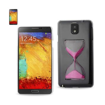 3D Sand Clock Clear Case In Hot Pink For Samsung Galaxy Note 3 By Reiko