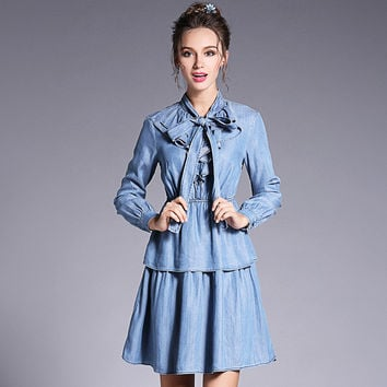 Women Vintage Bow Neck Ruffle Denim Dress Plus Size Long Sleeve Casual Dresses Blue 2017 Spring l to 4xl 5xl