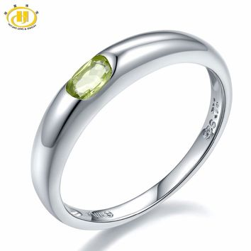 Hutang Gems & Jewelry 925 Sterling Silver Fancy Peridot Gemstone Ring Women Fine Jewelry For Engagement Wedding