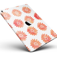 "The Red Orange Watercolor Daisies Full Body Skin for the iPad Pro (12.9"" or 9.7"" available)"