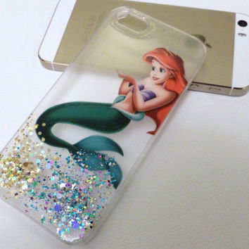 Ariel The Little Mermaid Glitter Iphone 5 case 5s case 4 4s 5c 6 6plus Case cover, Glittery Sparkly bling Disney Real glitter. Hard resin