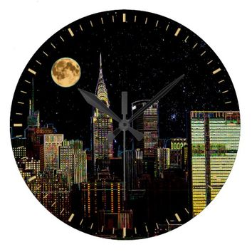 New York Skyline At Night With Full Moon Large Clock