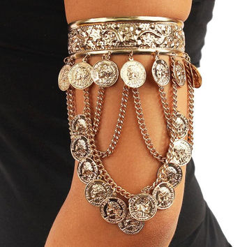 Gold or Silver Turkish Coin Chained Arm Cuff