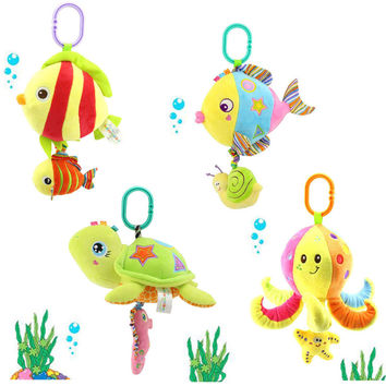 soft stuffed sea animal plush Toy baby rattles cartoon car hanging strollers musical toy octopus turtles tortoisesChristmas gift