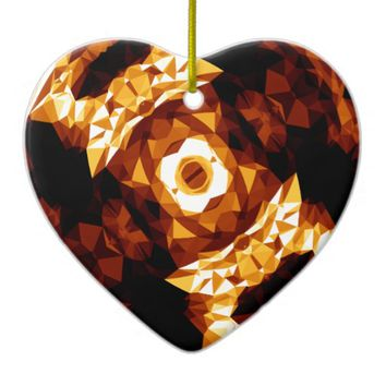 Geometric Triangles Orange Brown Black Abstract Ceramic Ornament