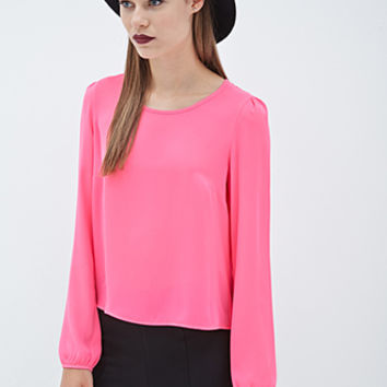 FOREVER 21 Long-Sleeved Chiffon Blouse Hot Pink