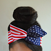 25% off promo code: WANELO25 American Dolly bow headband, american flag headband, hair bow