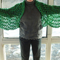 Openwork shrug kimono wide sleeve grass green and turquoise large extra large plus women or men