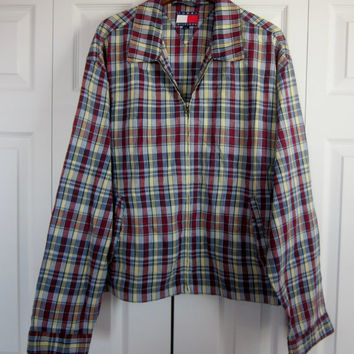 Vintage 80s 90s Madras Plaid Jacket Light Weight Zipper Jacket Hipster Tommy Hilfiger Mens Large Maroon and Yellow Plaid Golf