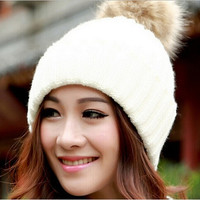 Women Fitted Winter Warm Hats Beanie + Big Fur Poms Caps Chic Teen Girls Red White Wool Apparel Accessories = 1932717700