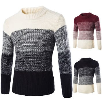Mens Casual Four Color Pullover Sweater