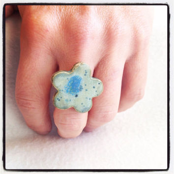 Handmade ceramic speckled blue flower on silver plated ring adjustable Perfect for Valentine's Day large lead and nickel free ring pottery