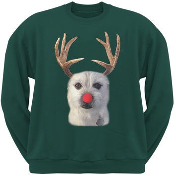 Funny Reindeer Dog Ugly Christmas Sweater Forest Green Sweatshirt