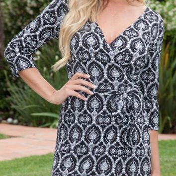 Mariah Twill Print Wrap Dress Short Cover Up 3/4 Sleeves
