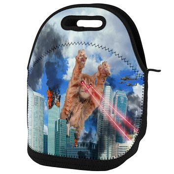 Giant Cat Laser Rampage and Destroy Lunch Tote Bag