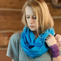 Cotton Gauze Infinity Scarf, Blue Scarf, Lightweight Soft Cotton Scarf, Spring Accessory Women, Aqua Blue
