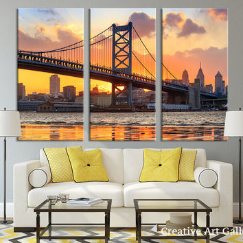 City Wall Decor - City Wall Art - Philadelphia Sunset Wall Art Canvas Print, Ben Franklin Bridge Canvas Art Print