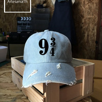 Platform 9 3 4 Harry Potter Baseball Cap, Denim Cap, Jean Cap, Harry Potter Cap, Girlfriend gift, Low-Profile Baseball Cap Baseball Hat