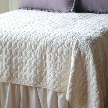 Velvet Quilted Coverlet with Satin Back in CHAMPAGNE