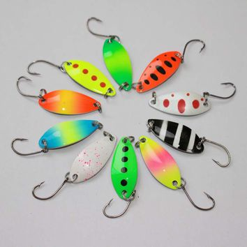 free shipping 3.2cm 2.5g colorful trout lure fishing spoon bait 10pcs/lot single hook metal fishing lure fishing tackle swimbait