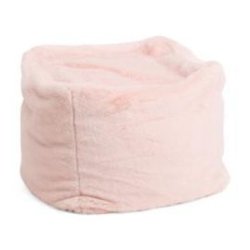 Kids Square Faux Fur Ottoman Pouf in White or Pink