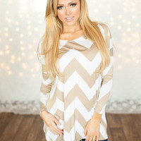 Relaxing in Chevron Tee Taupe CLEARANCE