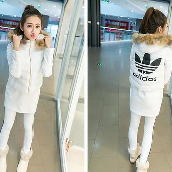 "Winter ""Adidas"" Fashion Coat Hooded T-shirt Bottoming Pants Trousers Set (3 Piece Set"