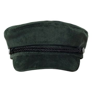 Dark Green Corduroy Baker Boy Cap