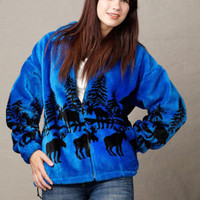 Fleece Jackets for Women, Mazmania Moose Ridge Print Jacket