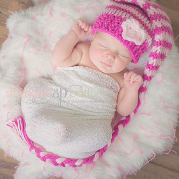 Striped Stocking hat ,elf hat baby hat, crochet hat custom size and color 0-3 , 3-6, 6-12 mths Photography prop