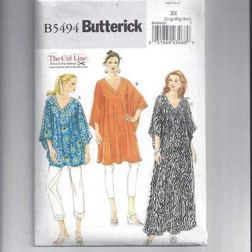 Butterick 5494 Pattern for Misses' Top, Tunic, and Caftan, Pants. New 2010, 2 Sizes Available, The Cut Line, FACTORY FOLDED, UNCUT