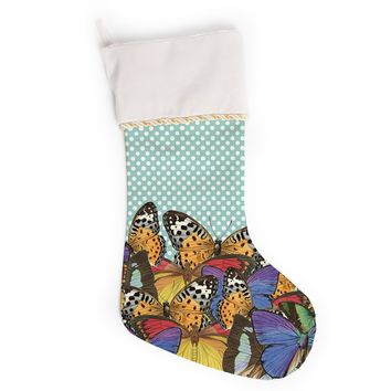 """Suzanne Carter """"Butterfly Polka"""" Teal Multicolor Christmas Stocking"""