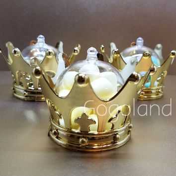 2 Baby Shower Favors Fillable Gold Crown Princess Party Decorations Girl & Boy