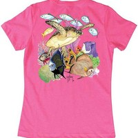 Guy Harvey Guardian Angel Ladies Back-Print Tee with Front Signature in Mint, Cancun or Hot Pink