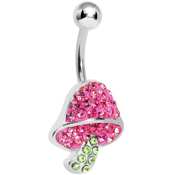 Green Pink Gem Paved Mushroom Belly Ring