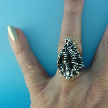 Fusion Shell and Sea Fan Coral Ring, Sterling Silver Ring, Ocean Jewelry, Beach Jewelry, Statement Ring,