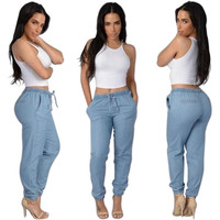 Light/Dark Blue Elastic Waist Pants Women Casual Trousers Loose Dance Joggers Long Pants S-XL