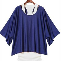 L 071304 Fashion, bat sleeve, loose big yards T-shirt-3 from cassie2013
