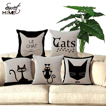 "18""Black Cute Cat Printed Decorative Sofa Throw Cushion Coffee House Chair Seat Soft Cushion Pillow Without Filling  Home Decor"