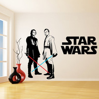 Star Wars Vinyl Wall Decal / Obi Wan Kenobi & Anakin Skywalker with Lightsaber Die Cut Decor Self Adhesive Sticker + Free Decal Gift!