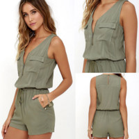 Summer dress army green lace-up zipper pockets sleeveless jumpsuits