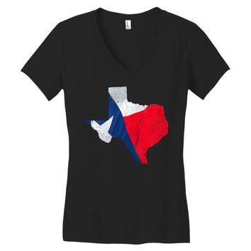 Eroded Texas Map With Flag Women's V-Neck T-Shirt