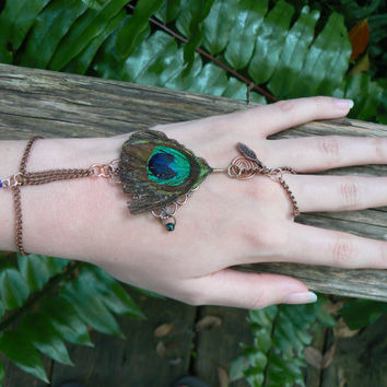 slave bracelet peacock feather  charms copper in gypsy boho hippie  fantasy tribal and belly dancer style