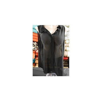 Women's Sleeveless Sheer Button Down Blouse, Black, Xlarge Allison Brittney