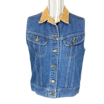 Denim Vest Corduroy Collar Vintage Lee 90s Grunge Burnout Metal Jean Jacket Vest Retro Boho Western Country Farm Barn Clothes, 38 Inch Chest