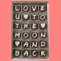 Love You U To The Moon And Back Cubic Chocolate Letters