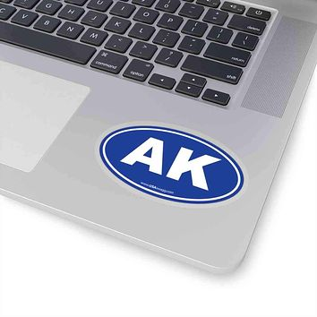 Alaska AK Euro Oval Sticker BLUE SOLID