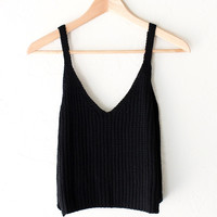 Sweater Crop Tank Top - Black