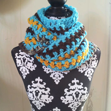 End of Season Sale Was 49 Now 20 Turquoise and Gold Bahamian Ocean & Sun Inspired Button Scarf Vegan Friendly Chunky Scarf with Buttons